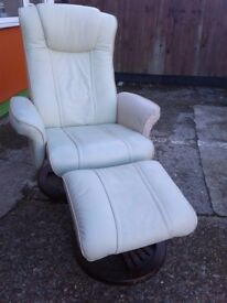Reclining Leather Chair and Matching Footstall