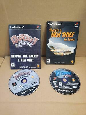 RATCHET AND CLANK & SLY COOPER PLAYSTATION 2 DEMO DISCS ((