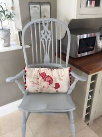 Classic painted blue wooden carver chair / armchair