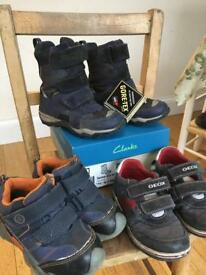 Boys Clarks Gore-tex winter boots 7 G, Pediped leather waterproof shoes size 8, 26, Geox 8.5 26