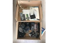 Box of phones and accessories