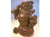 """Collectable Chinese Buddha Figurine & Child 9"""" Tall VGC (WH_0871)"""
