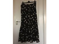 Long Black and cream skirt size 14
