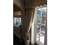 full length cream coloured fully lined curtains with goblet style pelmet