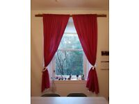 "Pair of red curtains (approx 90"" or 230 cm drop)"