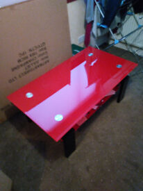 Red and Black tv stand.