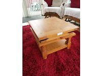 expensive (RRP £199.99) heavy solid wood 'shabby chic' coffee table with shelf - selling very cheap
