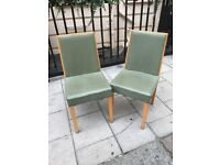 10 Dining Chairs - Wood and Green Leather look