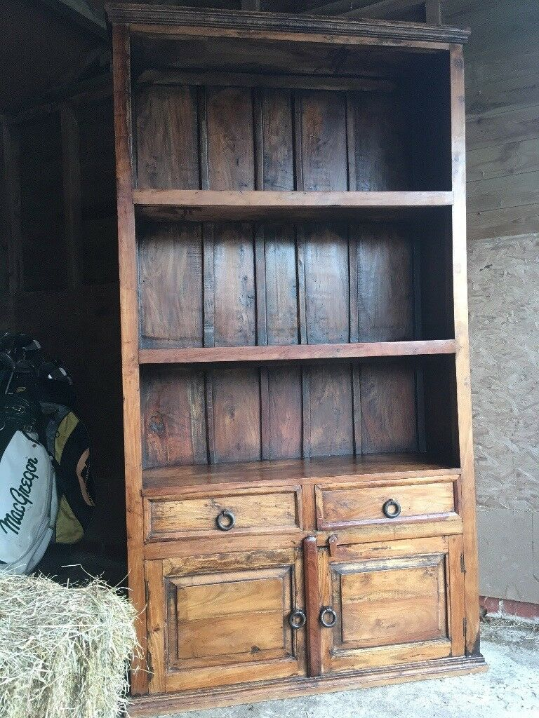 Rustic antique look shelving storage unit indian rubber wood mahogany colour iron fittings