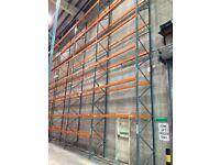 8 bay run of dexion pallet racking 9.4 meters high!!( storage , shelving )