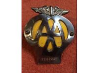 Vintage AA classic car grill badge