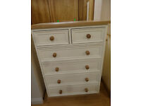Ivory Pine Chest of drawers (2 over 4 drawers)