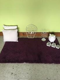 Purple rug and owl accessories