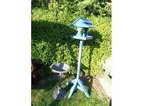 Blue birdtable from Dobbies & birdbath