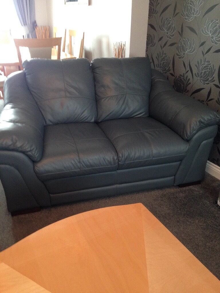 2x 2 Seater Leather Sofas Like New Dfs Slate Grey Blue