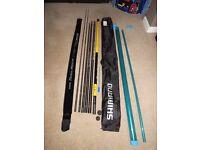 8.5m SHIMANO 850B BEASTMASTER MARGIN FISHING CARP POLE. 2 x Power Top kits BOTH FULLY ELASTICATED