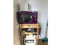 Wooden kitchen trolley, Microwave and Toaster