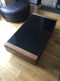 Coffee table and side table set [brown wood veneer, dark brown glass]