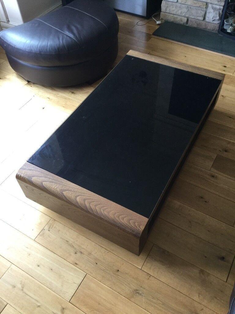 Sold coffee table and side table set brown wood veneer dark brown glass