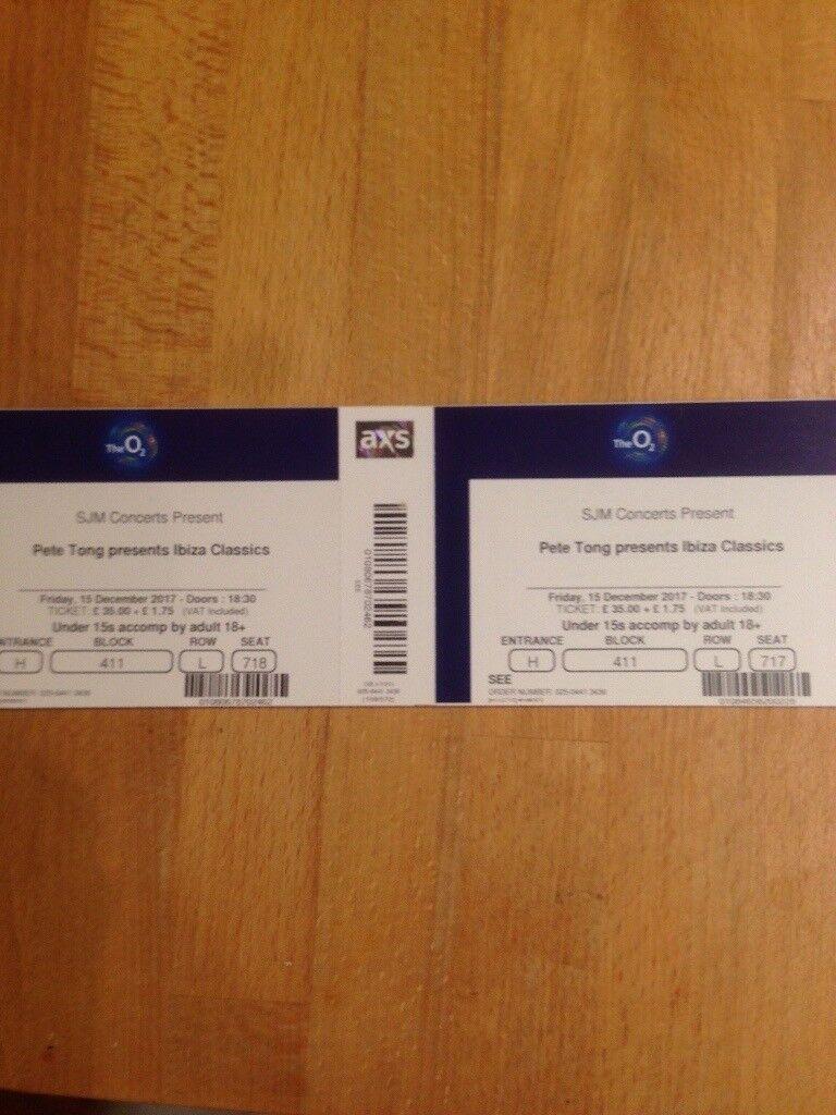 2 x tickets Pete Tong Ibiza classics live