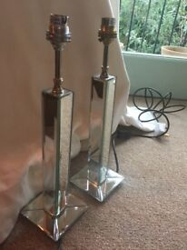 2 Laura Ashley Mirrored 'Battersby' Bedroom Lamp Bases