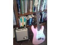 Pink fender Swuire, Amp
