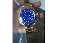 Rolex submariner watch new gold/ blue