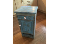Pretty Vintage Solid Pine Carved Painted Shabby Chic Bedside Table Storage Cabinet Drawer & Shelf