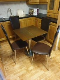 Four-Seater Bistro Dining Set With Leather Chairs