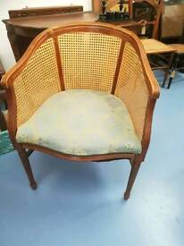 Wooden framed wicker occasional chair