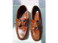 Brown leather Maine boating shoes