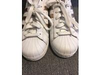 Adidas Superstar rose gold trainers size 4
