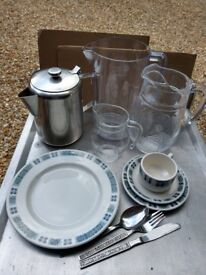 Catering plates large and small x100 of each, 3cups, glass jugs, coffee pots etc. £100