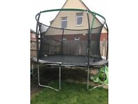 SOLD 12ft trampoline, very good condition, not even a year old, selling as moving house, £70 ONRO