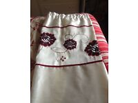 Red and cream curtains