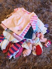 Newborn/0-1 month baby girl clothes bundle (56 items)