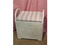 Vintage Loyd Loom style linen basket/ Stool