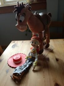 Talking Jessie and Bullseye toy characters from Toy Story