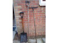 Mixed Garden Job Lot ; Garden rake, shovel, Hoe. (used) Collection Kirkby Notts
