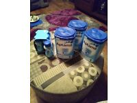 3 x 900ml sealed cans & 5 x 200ml ready made actimal 1st stage baby food