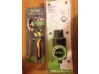 Anvil secateur and irrigation regulator just £5