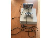 White PS4 Console (500GB) + Controller + Power/Charging Cables and Box + 3 Games