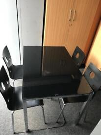 Black Glass Dining Table Tempered Glass Chrome Legs, Chairs Available £5 each or 4 for £15