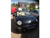 Gorgeous Convertible Black Volkswagon Beetle, Automatic, with Cream Leather Seats