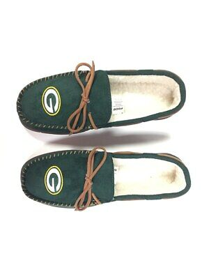 Green Bay Packers Men's Team Color Moccasin Slippers Green Bay Packers Mens Slipper