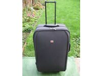 Large-Medium Fiore Black Fabric Suitcase with Telescopic Handle, Wheels and Stand