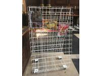 Magazine display rack, white plastic coated wire A-frame, folds flat