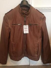 Brown Leather Jacket - Zara Man - Size L