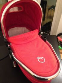Icandy Peach Blossom lower carry cot, tomato red. Includes adapters.