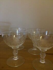 Set of 4 vintage port/wine glasses.